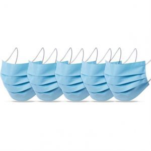 Pack of 5 Reusable Cotton Face Coverings - Blue - TOPSCosmetics.uk